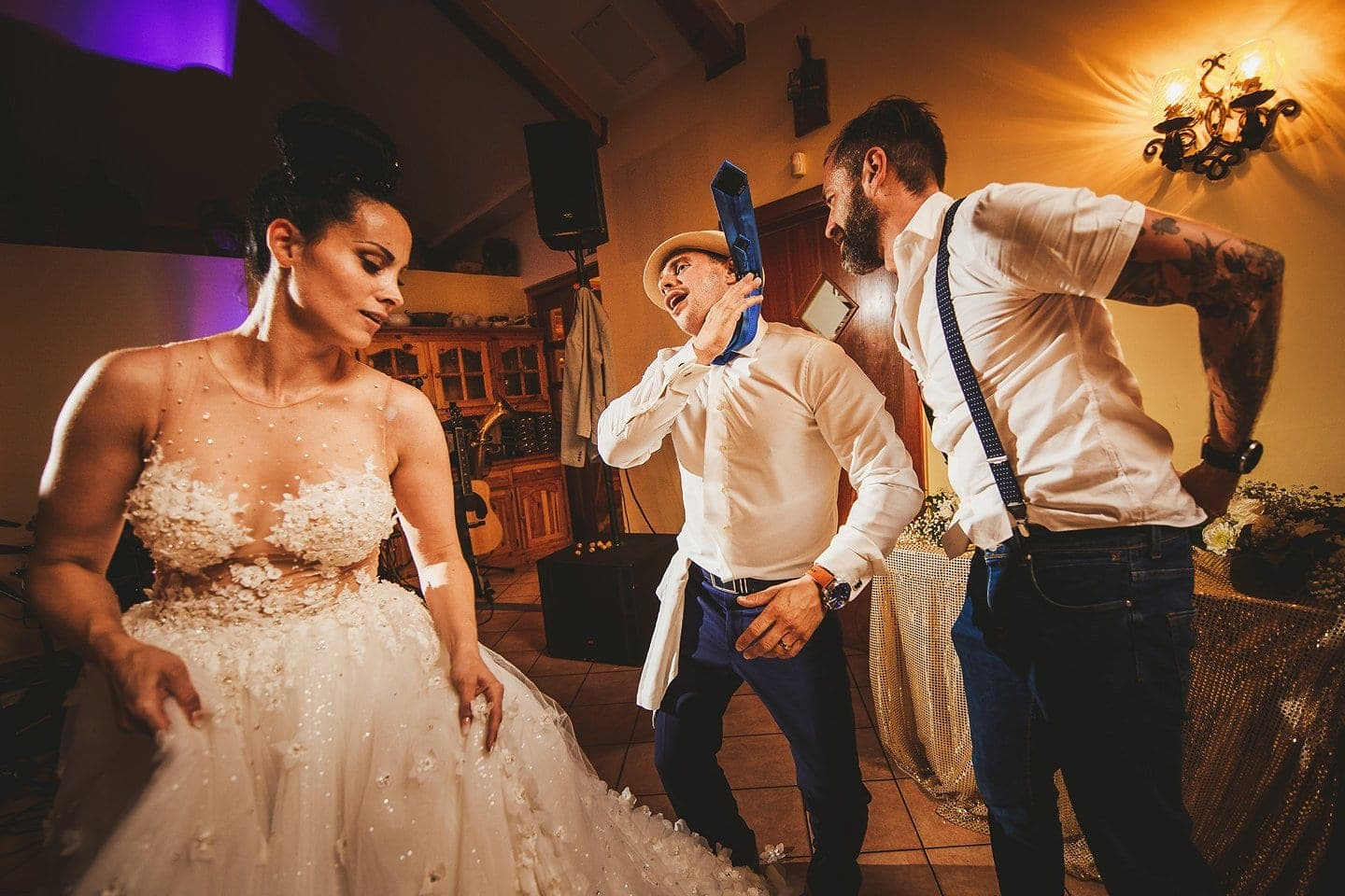 bride and groom having great time while dancing