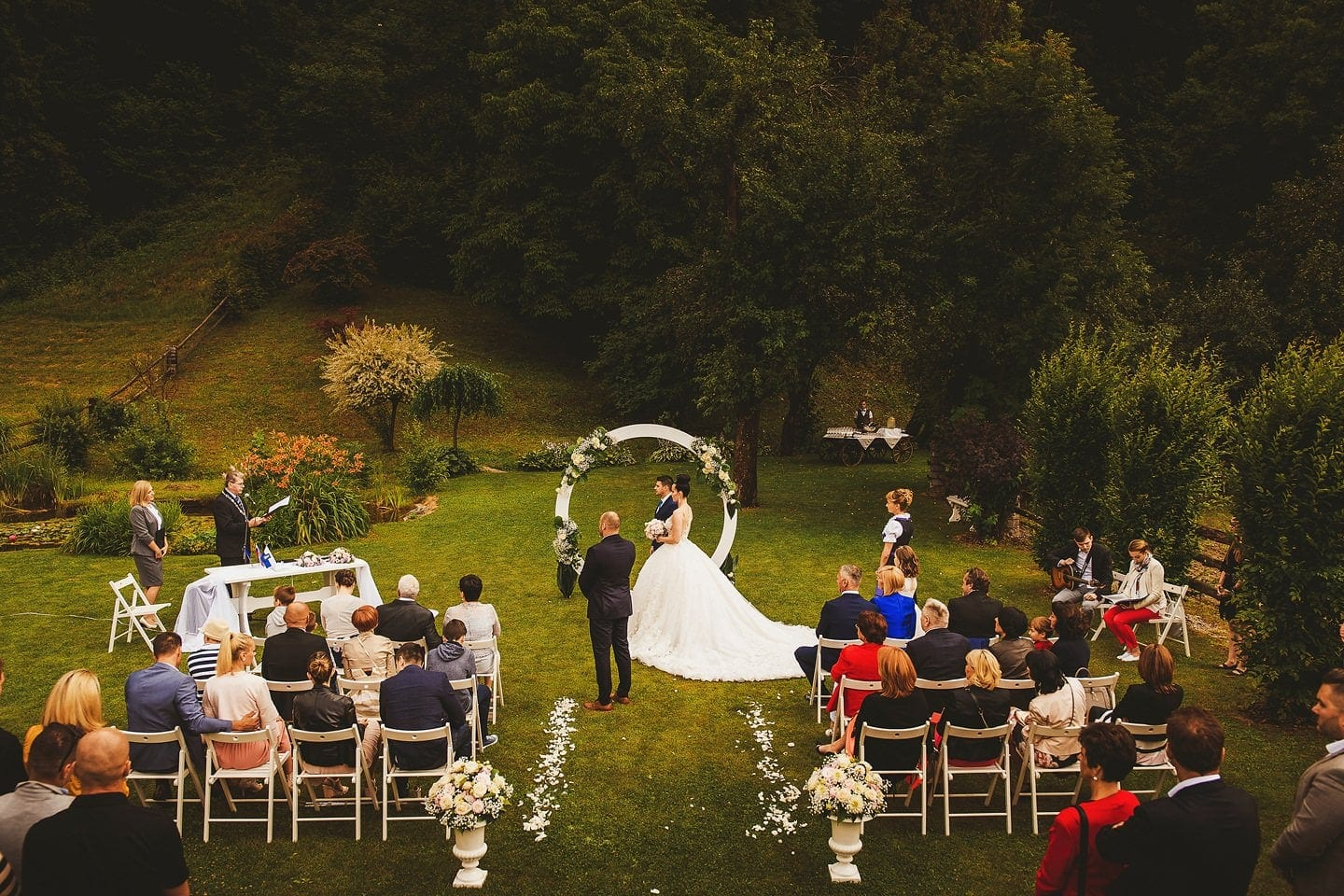 the view from above on a wedding ceremony